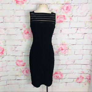 Adrianna Papell sleeveless black shirred dress